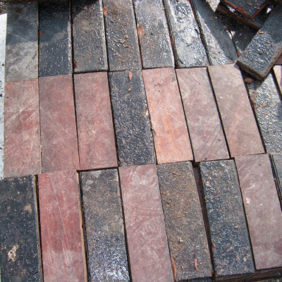 Reclaimed mahogany parquet flooring