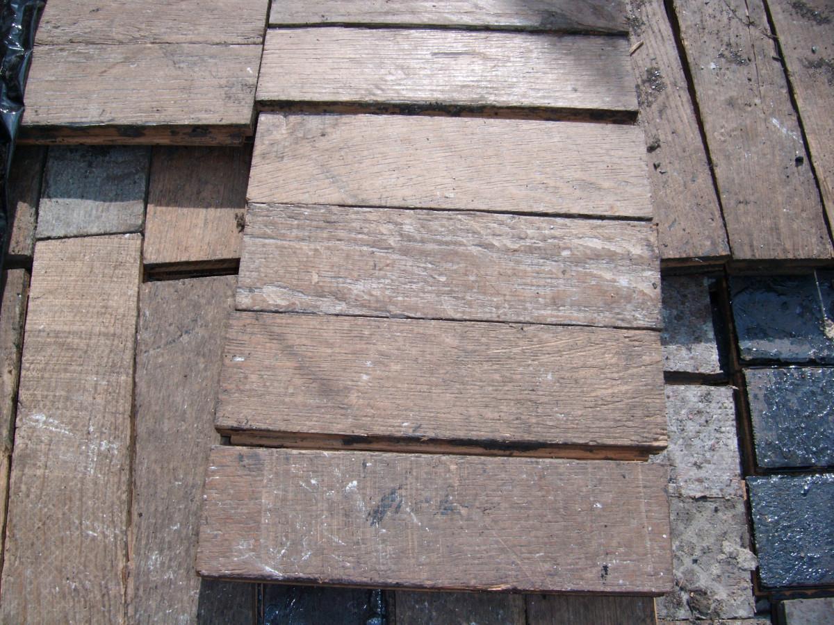 Oak parquet woodblock flooring
