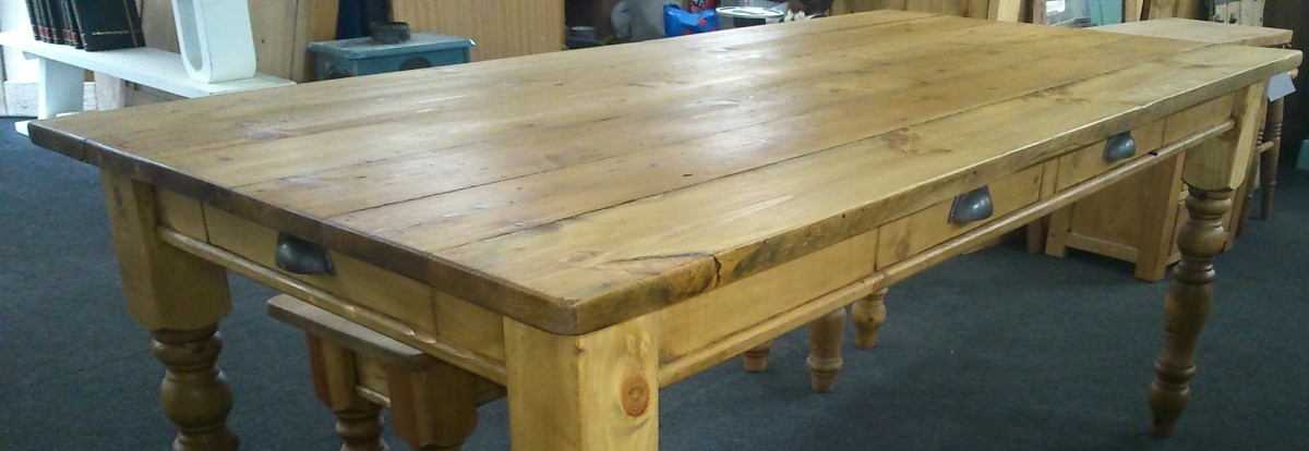 old pine plank-top table waxed finish.