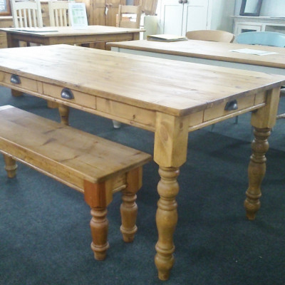 "6FT x 3FT kitchen/dining table on turned 4"" legs with drawers."