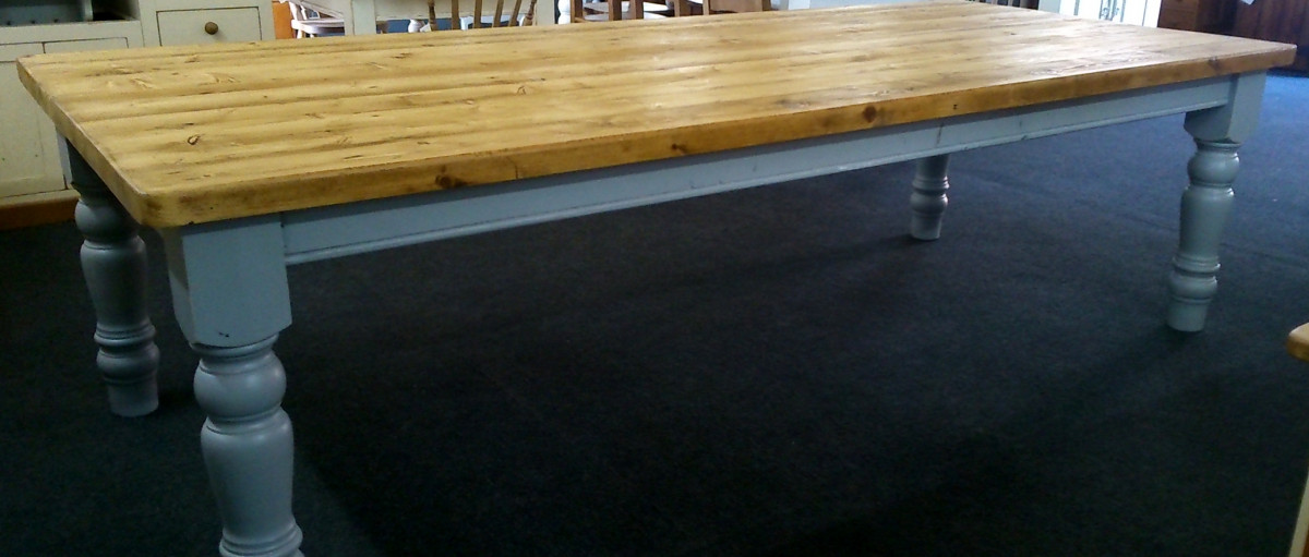 Rustic old pine table 12ft x 4ft with plank-top & painted chunky turned legs.