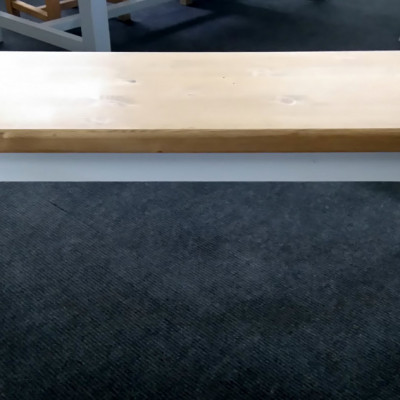 Pine bench 4ft on turned legs painted in Farrow & Ball 'Wimborne White'.