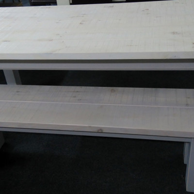 rustic sawn table & bench.