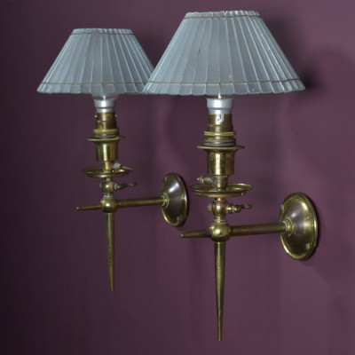 Pair Gilded Brass Wall Lights