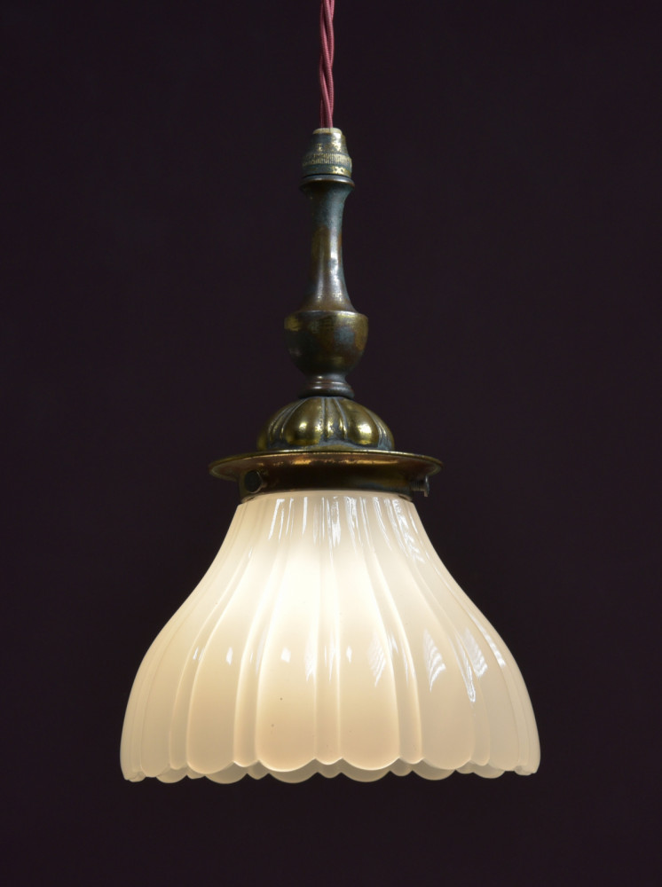 Antique Moonstone Shade with Original Fittings
