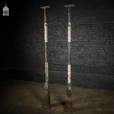 Pair of Tall 19th C Cast Iron Columns Pillars Stanchions