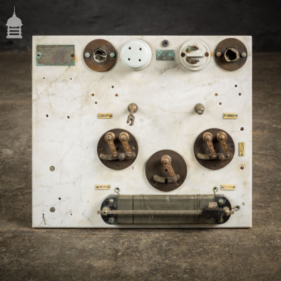 Vintage Industrial Marble Electrical Switch Board