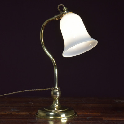 Antique brass swan neck table lamp