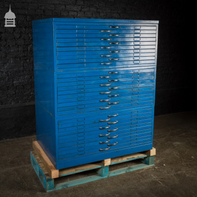 Vintage Blue Steel Industrial Plans Chest Drawers