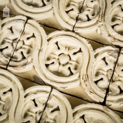 Batch of 39 19th C Decorative White Tudor Rose Design Bricks