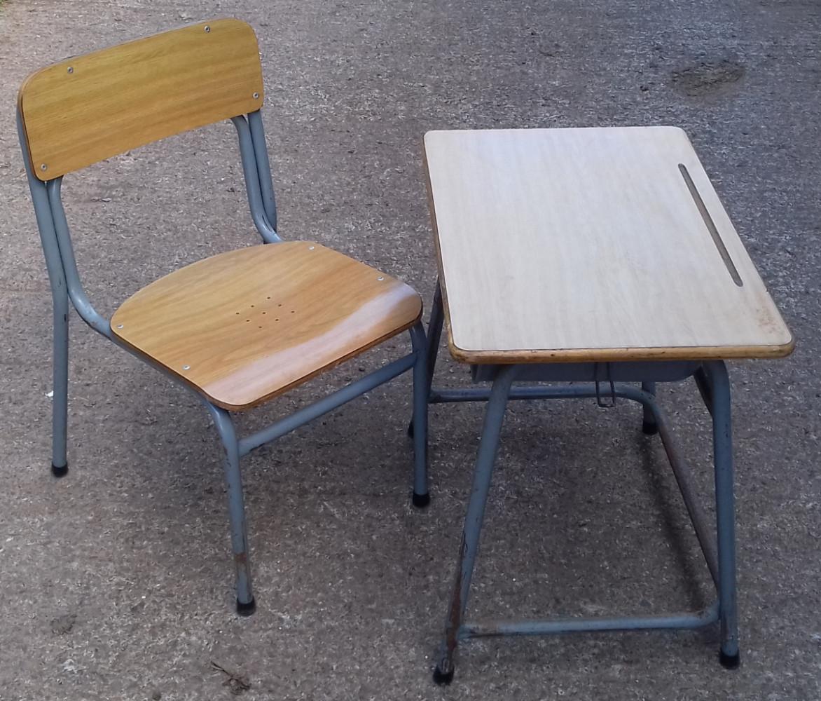 Vintage childs school desk & chair.