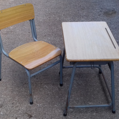 Vintage childs school desk & chair.