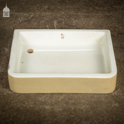 Reclaimed Shallow Cane and White Butler Sink Planter