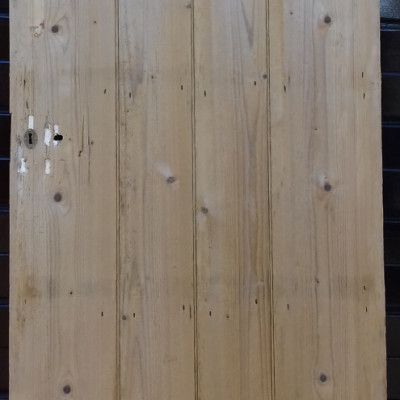An early beaded 4 plank ledged pine door.