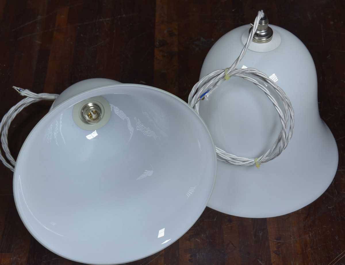 Large Pair Antique Bell Shades