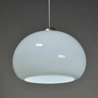 Large Squashed Opaline Globe Hanging Light