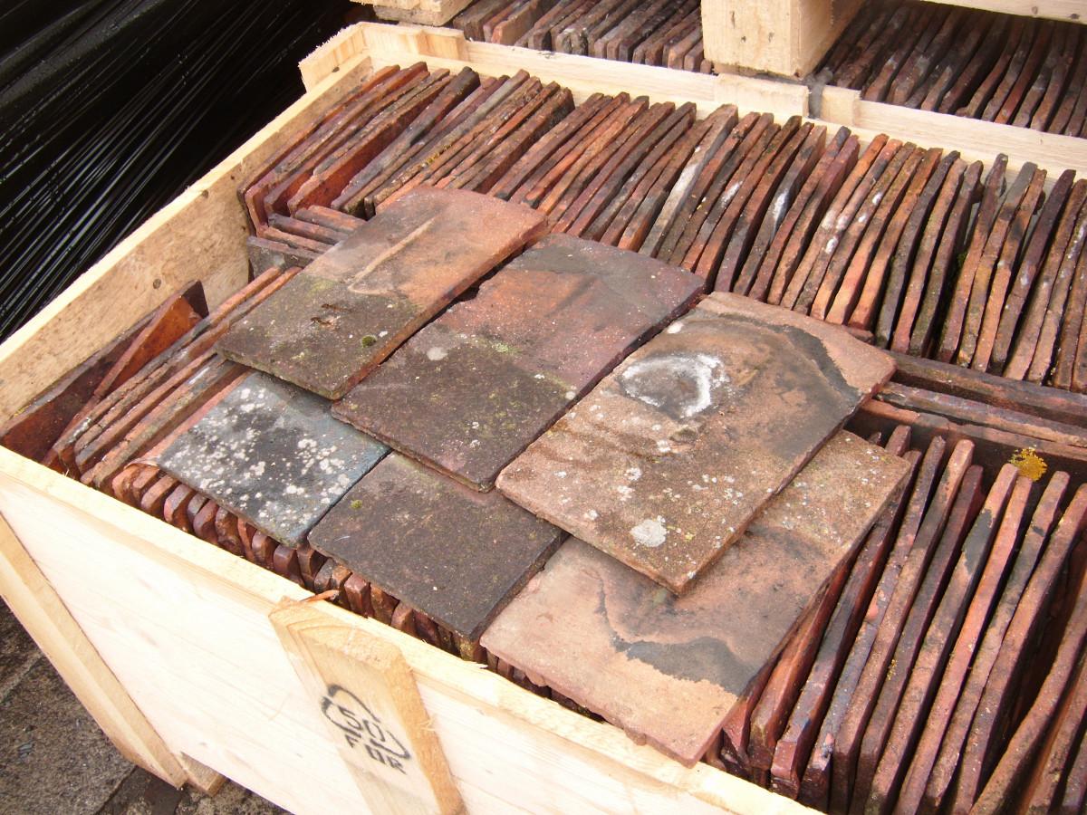 Handmade clay 10 1/2 x 6 1/2 roof tiles
