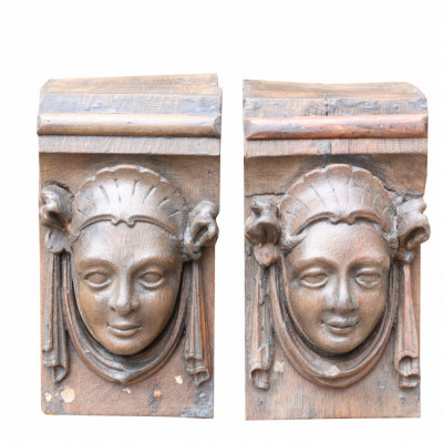 Pair Of Victorian Carved Oak Corbels