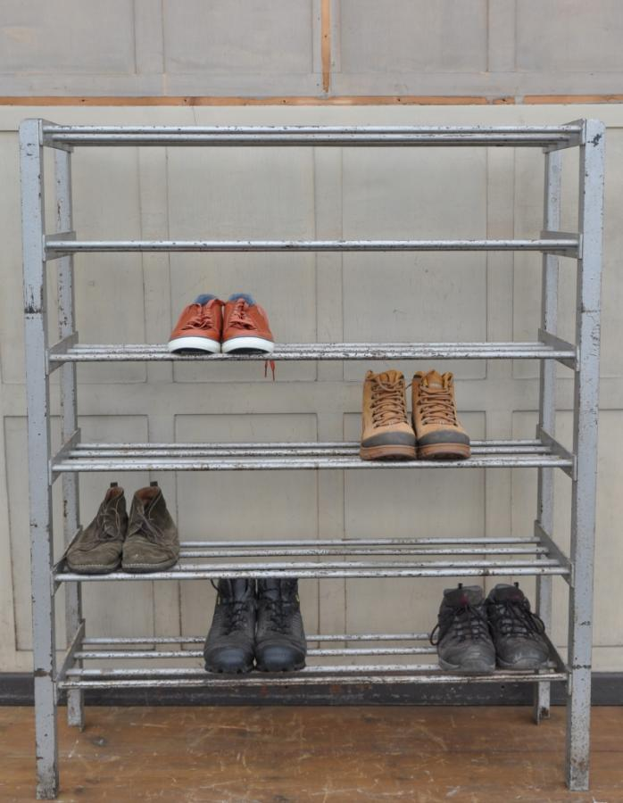 vintage  iron industrial shoe rack