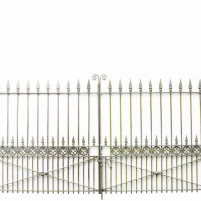 """Pair Of Late 19th Century 11ft 10"""" Antique Wrought Iron Driveway Gates"""