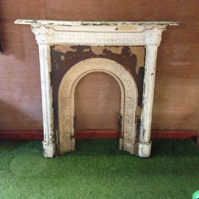 Fire Place Reclaimed Surround Cast Iron Decorative Unrestored Ornate Arched Salvaged Origial Vintage stock ref 031
