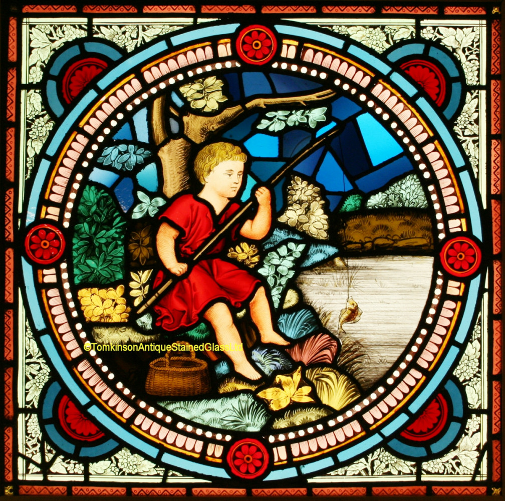 Antique Stained Glass For Sale.For Sale Victorian Stained Glass Window Boy Fishing