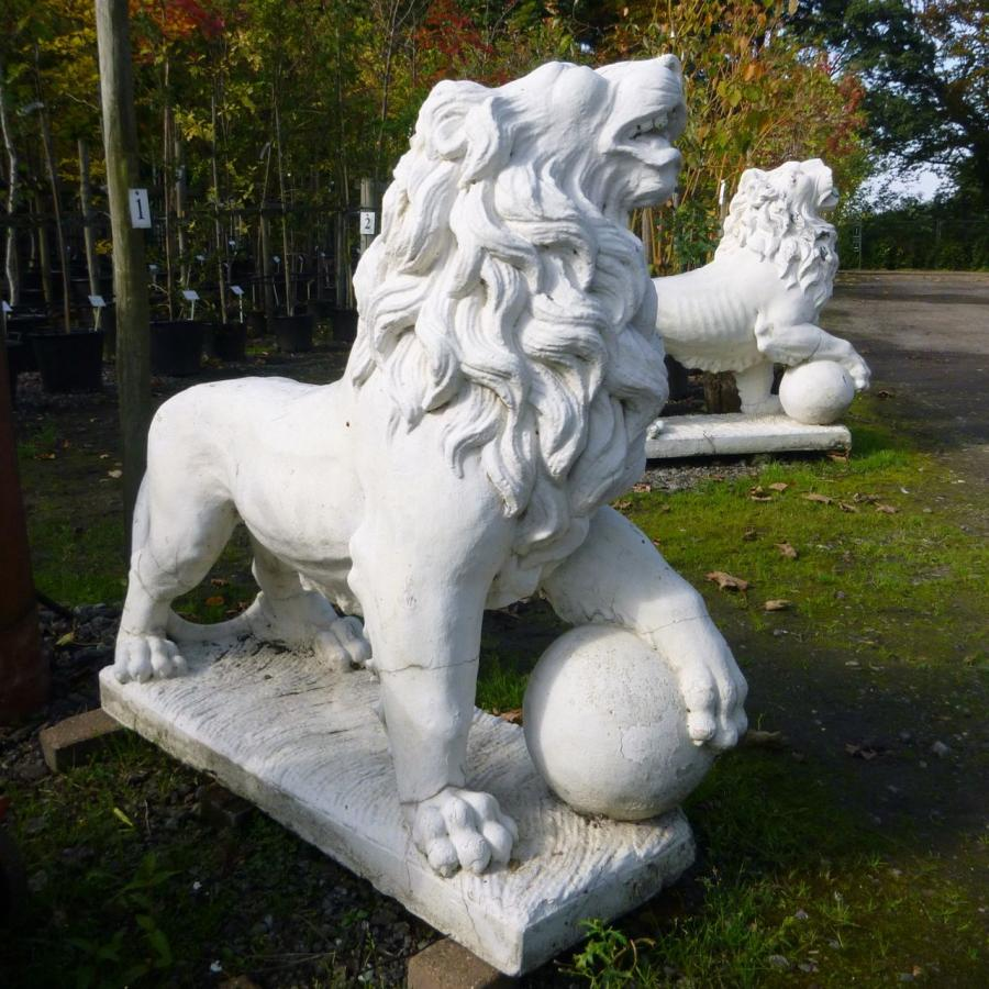 Pair of Reclaimed Crushed Marble Lion Statues