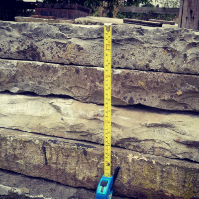 Reclaimed large thick slabs of beautifully weathered Yorkstone flags 200 sq yards available