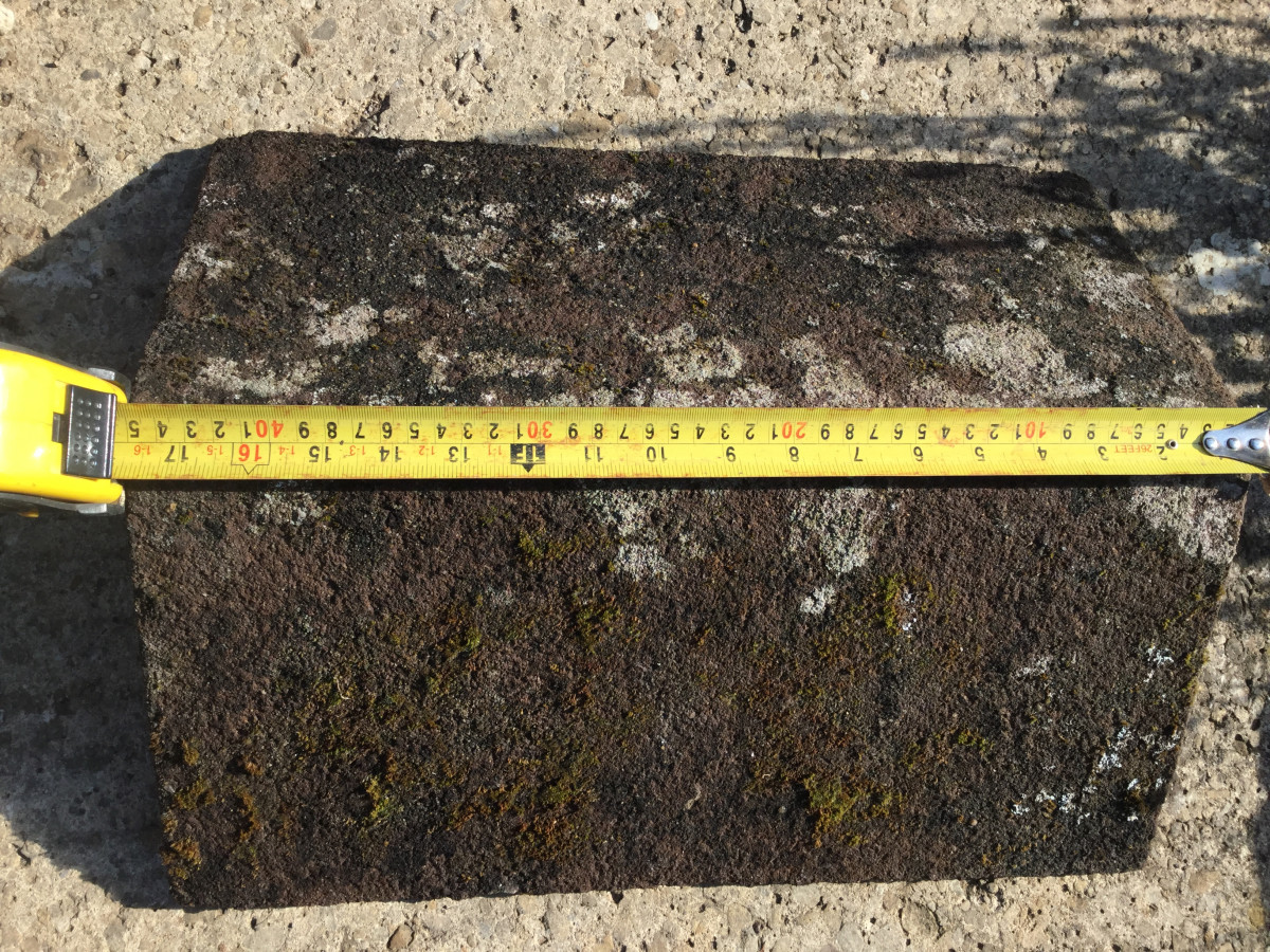 reclaimed concrete ridge tiles, 110 degree angle