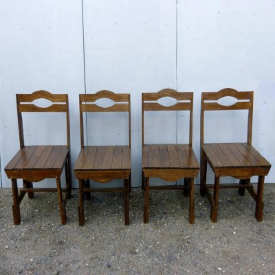 Reclaimed Vintage Oak Wooden Chairs
