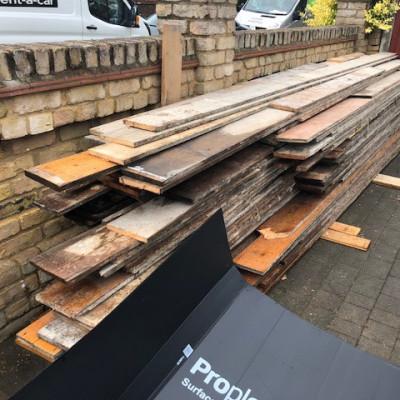 Reclaimed floorboards de-nailed