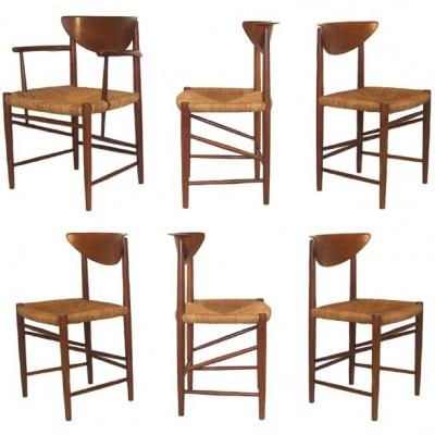 Peter Hvidt & Molgaard Nielsen. 6 x Danish dining chairs. retro