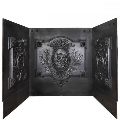 Antique Cast Iron Fire Back Triptych with Cherubs