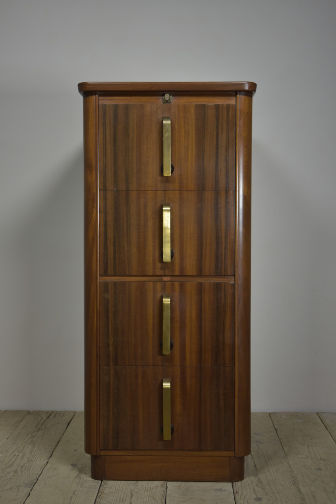 Walnut Art Deco Filing Cabinet