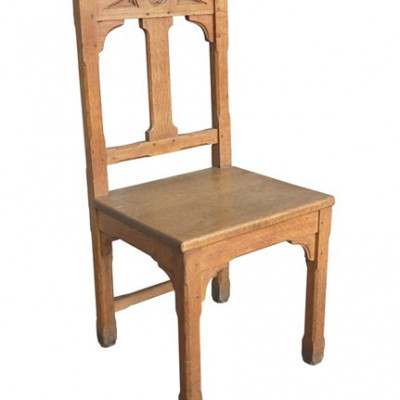 Old Original Worcester Cathedral Antique Gothic Light Oak Chair