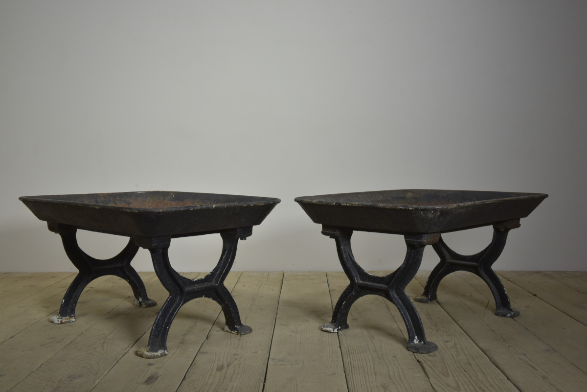 Antique Cast Iron Troughs on Stands - Pair