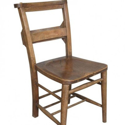 Reclaimed Antique Dark Elm and Beech Church Chairs With Bible Backs