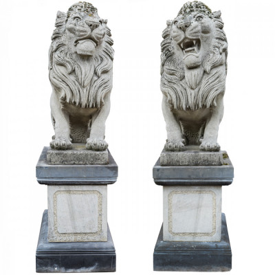 Monumental Pair of Life-Size Stone Lions on Plinth