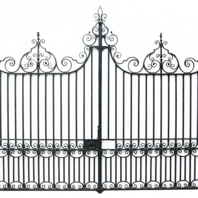 Pair Of 12 Ft Wrought Iron Driveway Gates Circa 1900