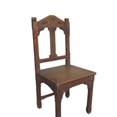 Old Original Worcester Cathedral Antique Gothic Dark Oak Chairs