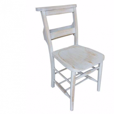 Antique Distressed Painted Church Chairs With Bible Backs