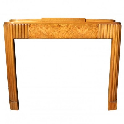 An Art Deco walnut fire surround