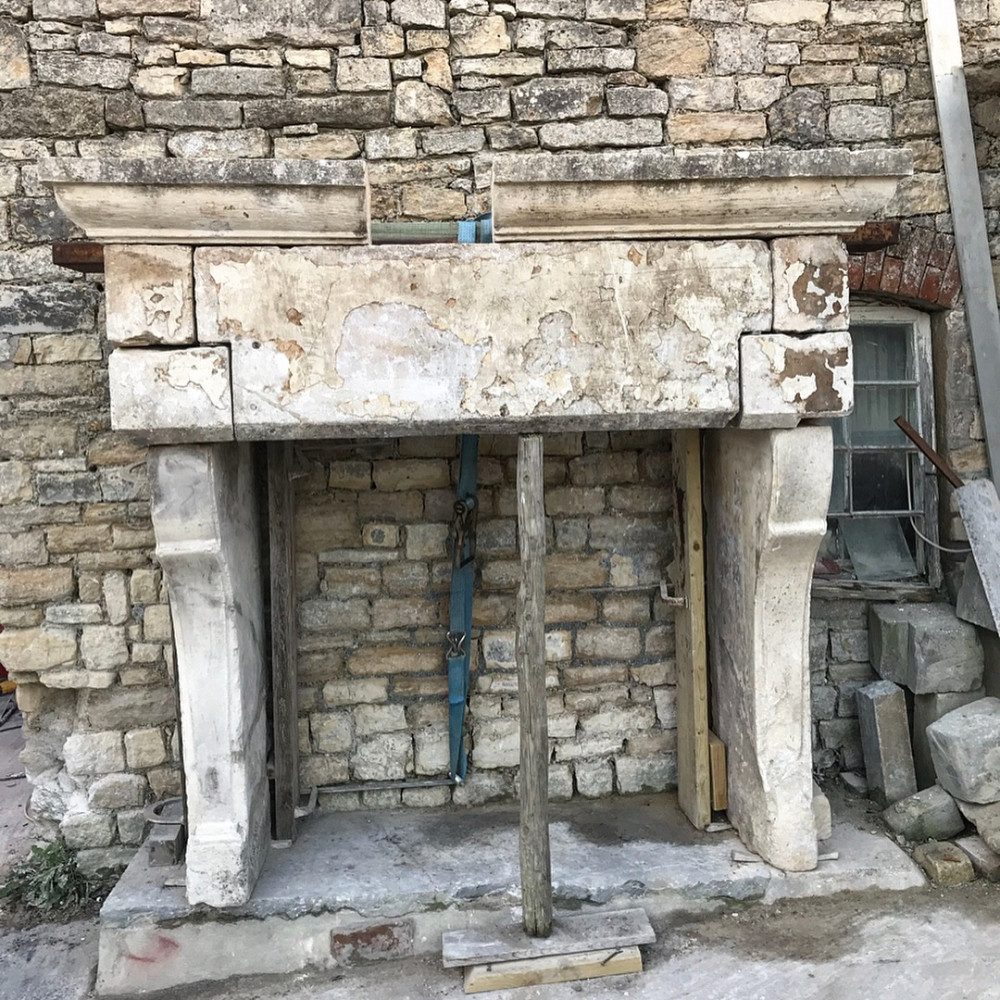 Imposing Antique Stone Fireplace