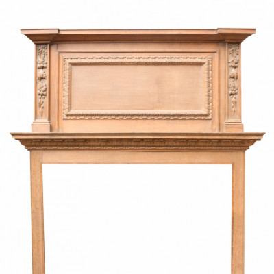 Edwardian Oak Fire Surround With Overmantel