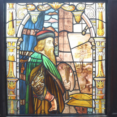 19th Century Stained Glass Panel Depicting An Artist