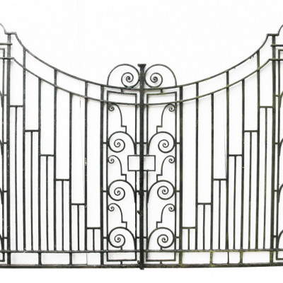Pair Of Art Deco Wrought Iron Driveway Gates