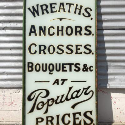 Antique Funeral Parlor Sign, Vinatge Glass Advertising Sign sham