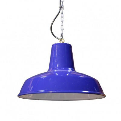 A 20th C. blue enamelled lamp shade - fully rewired