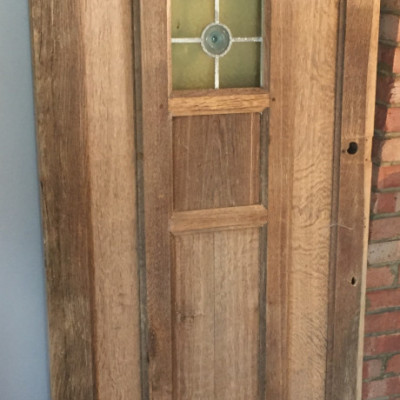 Oak Wood Glazed Stained Glass Front Door Period Reclaimed Rustic Antique Tudor Arts and Crafts Style