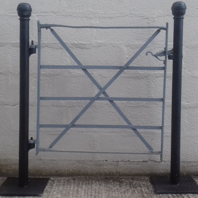 Victorian wrought iron estate gate with original cast iron posts